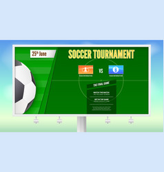 soccer poster with text design on white billboard vector image