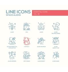 Space aliens - line design icons set vector