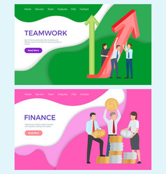 Successful teamwork finances workers with coins vector