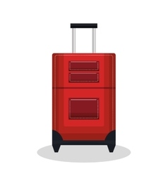 suitcase red with wheels design vector image