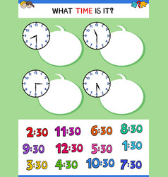 Telling time clock face educational task vector