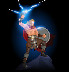 Thor god thunder and lightning vector