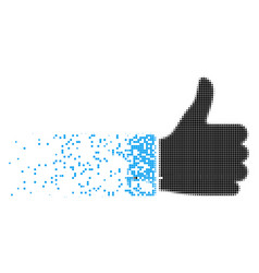Thumb up dispersed pixel icon vector