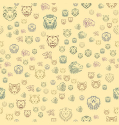 Tiger head royal seamless pattern with beautiful vector