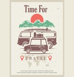 Time for travel retro grunge poster design vector