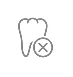 Tooth with cross checkmark line icon diseased vector