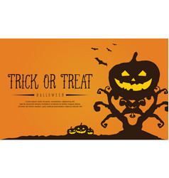 Tree and pumpkin background for halloween vector
