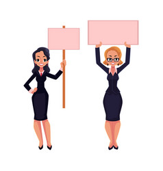 Two girls women businesswomen on strike holding vector