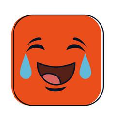 Very happy emoji kawaii character vector