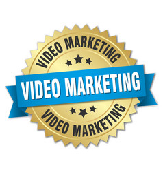 video marketing round isolated gold badge vector image