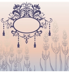 Vintage background with ornate frame and flowers vector image