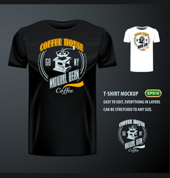 vintage t-shirt with stylish coffee bean grinder vector image