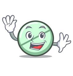 waving drug tablet character cartoon vector image
