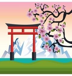Welcome japan mount fuji design vector