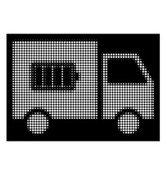 white halftone battery delivery truck icon vector image