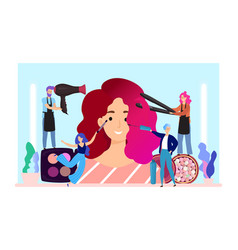 Woman makeup flat happy tiny vector