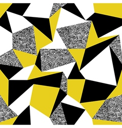 Yellow triangles Geometric seamless pattern in vector