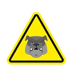 angry dog warning sign yellow bulldog hazard vector image vector image