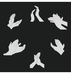 Applause set clapping hands vector image vector image