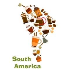 Coffee in shape of south africa map vector