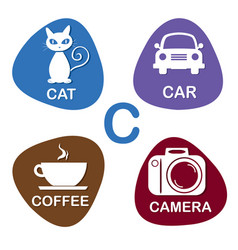 cute alphabet in c letter for cat car vector image vector image
