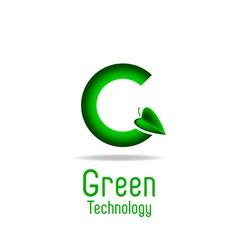 Green letter G and leaf eco technology logo mockup vector image