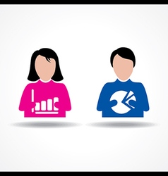 Male and Female thinking about business growth vector image