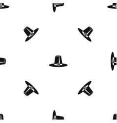 pilgrim hat pattern seamless black vector image vector image