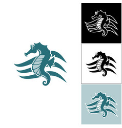 seahorse on the wave of the logo vector image vector image