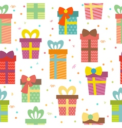 Seamless pattern with gift boxes Birthday presents vector image vector image