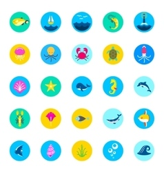 set of 25 sea icons marine fishes and nature flat vector image vector image