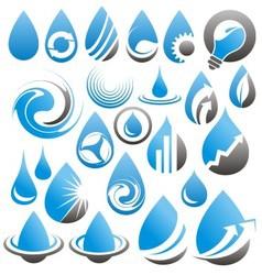 Set of water drop icons symbols signs and logos vector