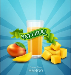 background with mango and glass of mango juice vector image vector image