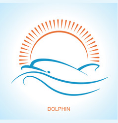 dolphin symbol logo simple style flat vector image vector image