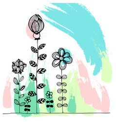 doodle flowers on a colourful background vector image vector image
