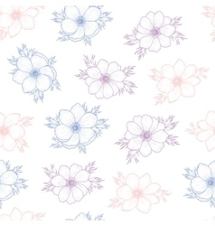 Floral seamless pattern of flower anemone vector