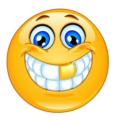 gold tooth emoticon vector image