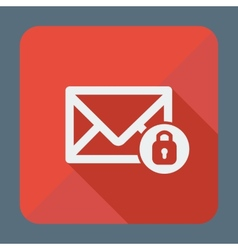 Mail icon envelope with padlock Flat design vector image vector image