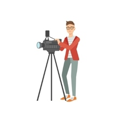 Professiona Cameraman Taking Pictures With Photo vector image