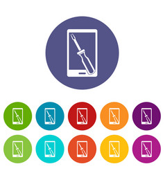 Repaired phone icons set flat vector