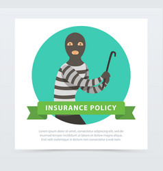 robber in mask with crowbar property protection vector image