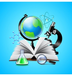 Science tools composition on blue background vector image