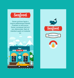 seafood vertical flyers with shop building vector image vector image