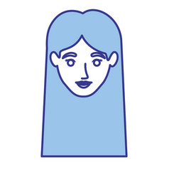 blue silhouette of woman with straight long hair vector image vector image