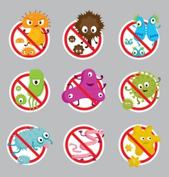 Cute Germ Characters Prohibition Sign vector image