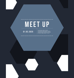 geometric cover design gray color meet up card vector image vector image