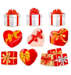 gift boxes with bows and ribbons vector image vector image