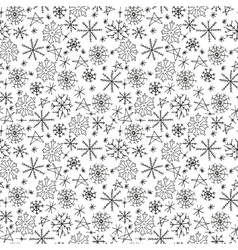 Hand drawn seamless pattern with snowflakes vector image