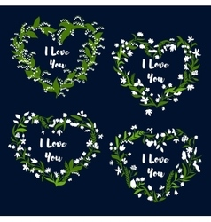Heart with flowers for Valentine Day card design vector image