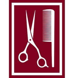 icon with barber scissors and comb vector image vector image